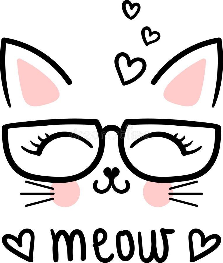 meow Mignon, chat de bande dessinée avec des verres Vecteur illustration libre de droits