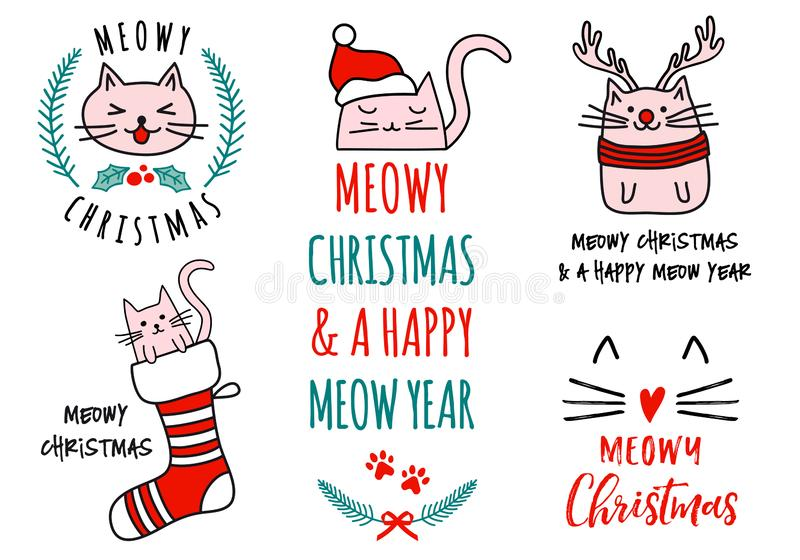 Meowy Christmas with cute cats, vector set. Meowy Christmas with cute cats, hand drawn doodle, set of vector design elements vector illustration
