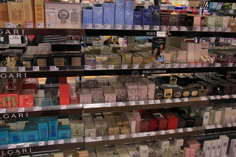 Meppen, Germany, august 14th 2017: different brands of perfume royalty free stock images