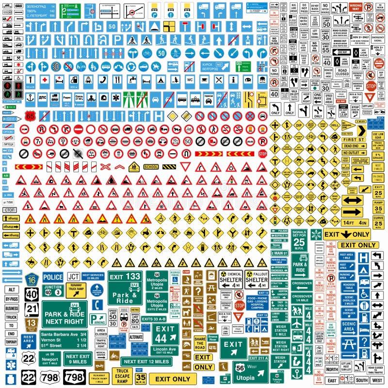 Mer än sexhundra europeiska trafiktecken royaltyfri illustrationer
