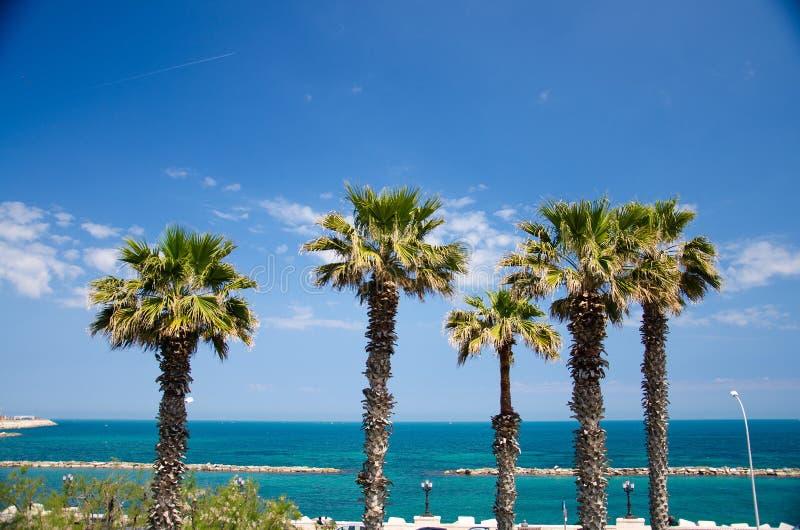 Mer Adriatique de promenade de remblai dans la ville de Bari, Puglia, du sud photo libre de droits