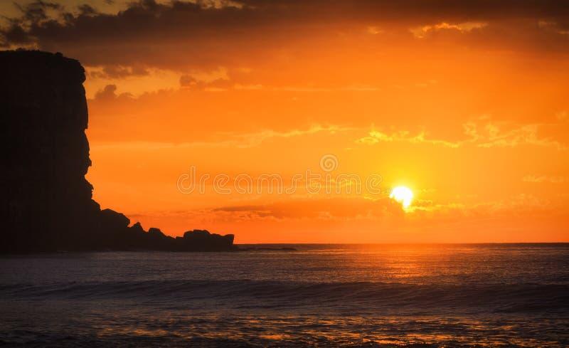 Mer Avalon Orange Sun Cliff images libres de droits
