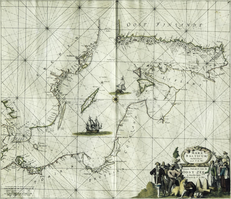 Mer baltique de carte antique photographie stock