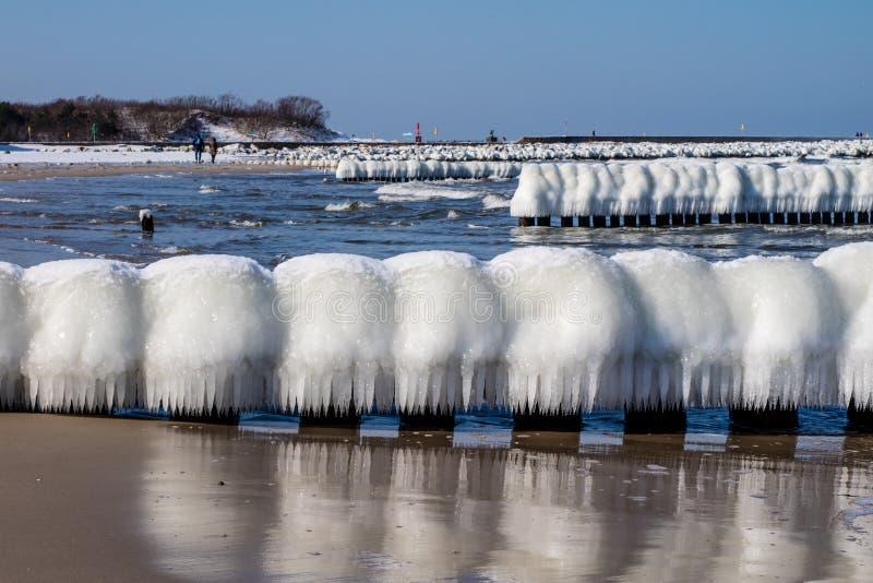 Mer baltique en Pologne Bord de mer et falachron avec du pe en bois glacial photos stock