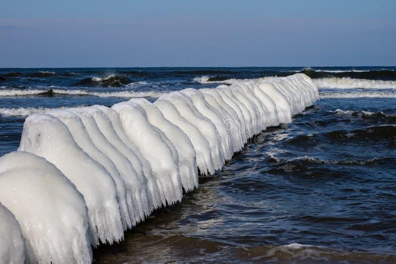 Mer baltique en Pologne Bord de mer et falachron avec du pe en bois glacial photo libre de droits