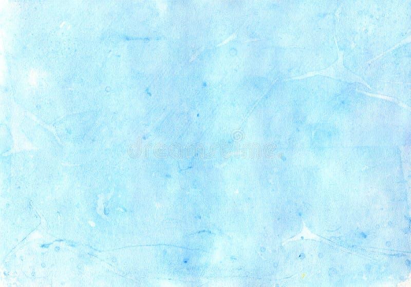 Mer bleue de ciel d'aquarelle de texture illustration libre de droits