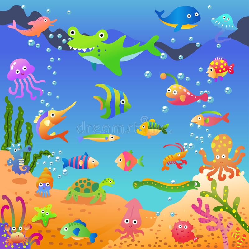 Mer bleue profonde d'Unde illustration de vecteur