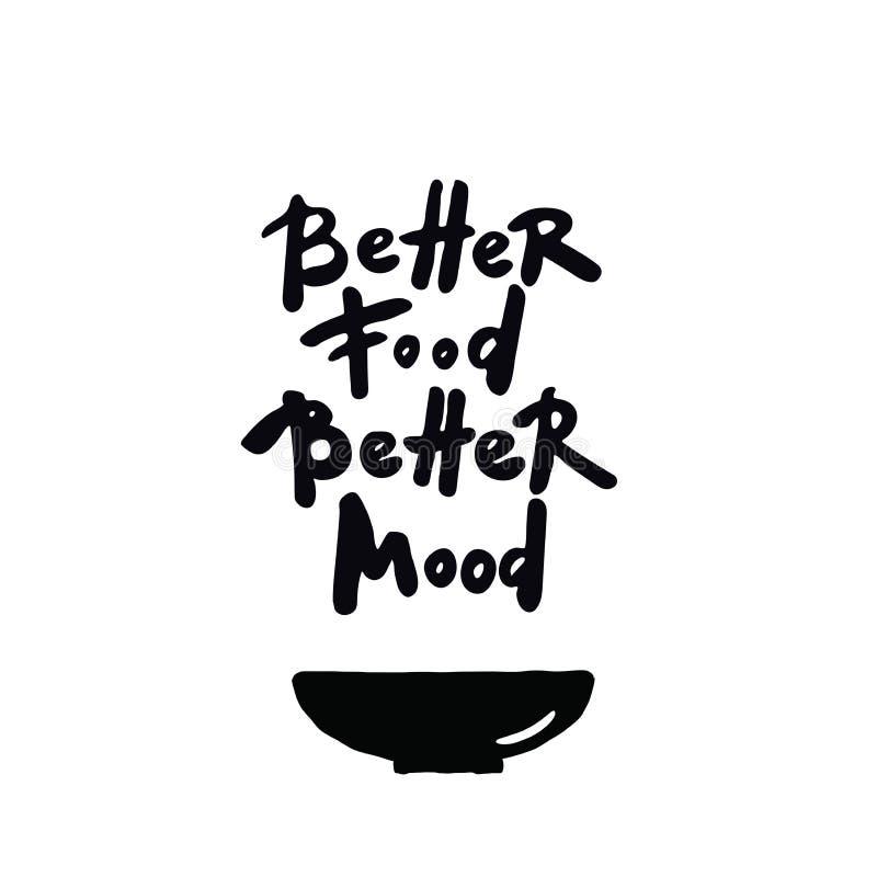 Mer bra lynne för bättre mat Handbokstävercitationstecken på vit bakgrund Illustration av bunken royaltyfri illustrationer