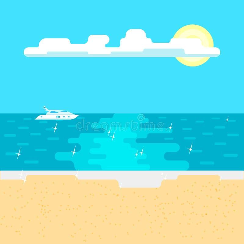 Mer calme et plage sablonneuse un jour ensoleillé illustration libre de droits