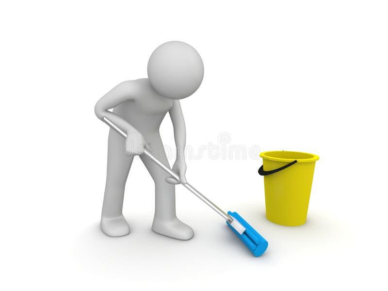 mer cleaner arbete stock illustrationer