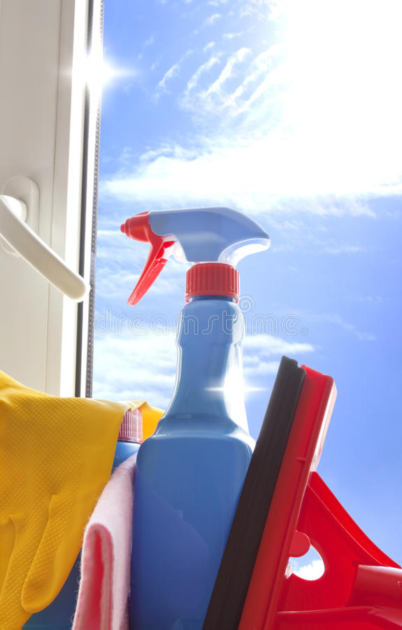 mer cleaner cleaningsatsfönster royaltyfria foton