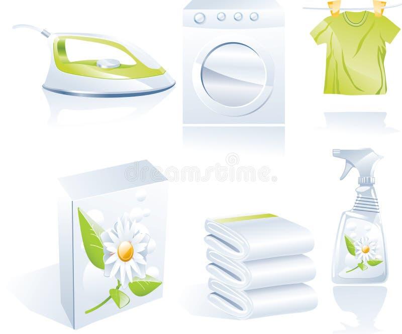 mer cleaner torr set vektor för symbol s royaltyfri illustrationer