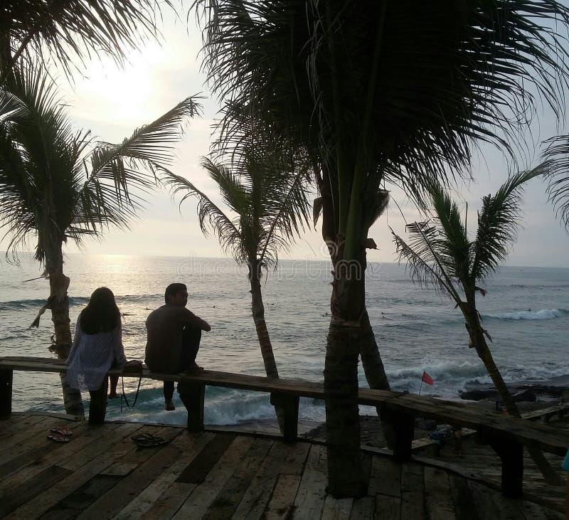 Mer d'ado d'amour de plage de noix de coco photo libre de droits