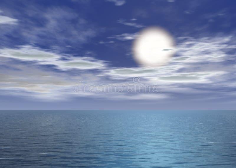 Mer d'aube - coucher du soleil au-dessus de l'horizon illustration stock