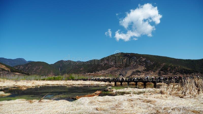 Mer d'herbe de lac de lugu en premier ressort images stock