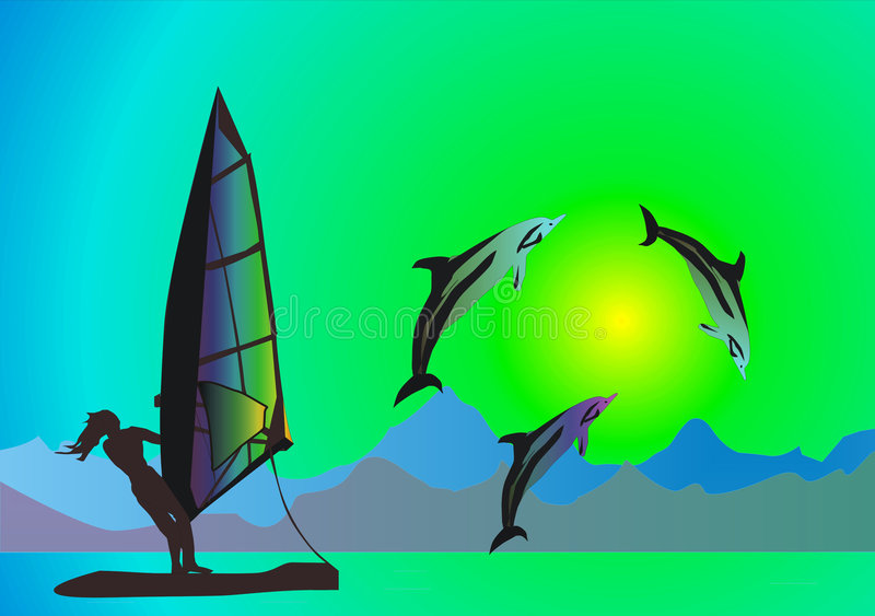Mer, dauphins et windsurfer illustration stock