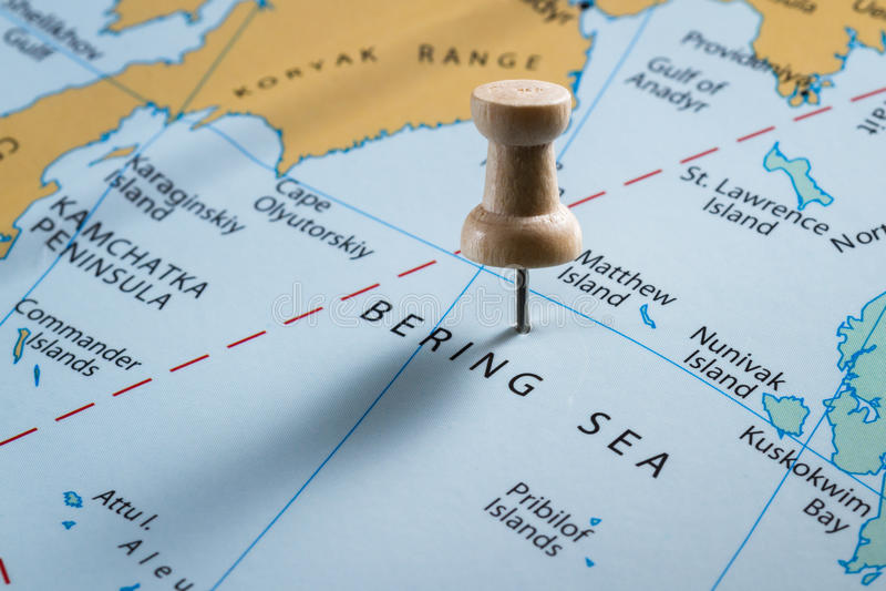 Mer de Béring sur une carte image stock