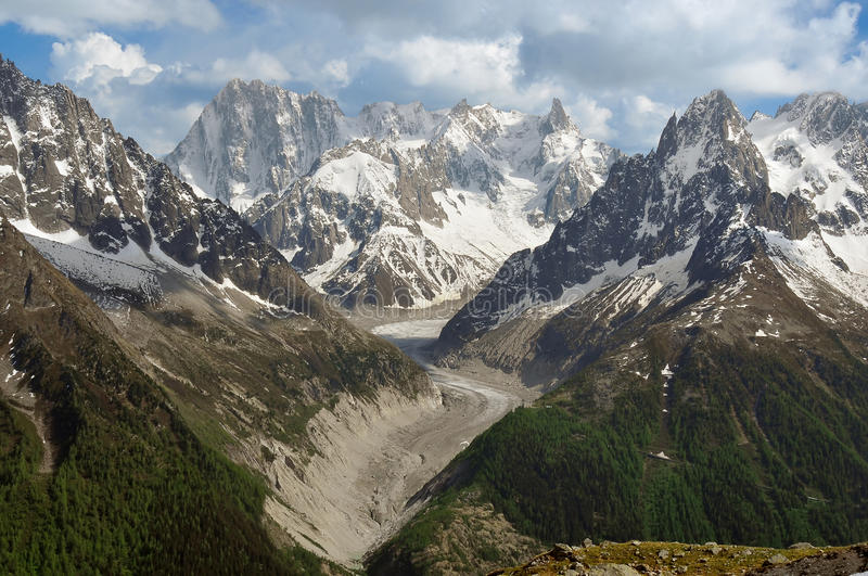 The Mer de Glace. Glacier as it comes down from the Mt Blanc, with the Dent du Geant and Grandes Jorasses in the centre background. On the right the montenvers stock photo