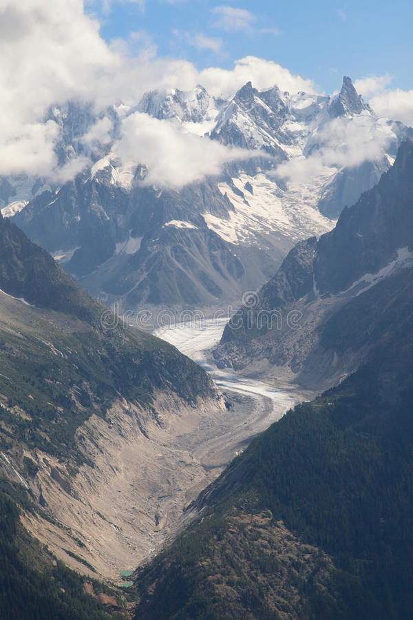 Mer de Glace and Dent du Geant. From La Flegere, French Alps stock photo