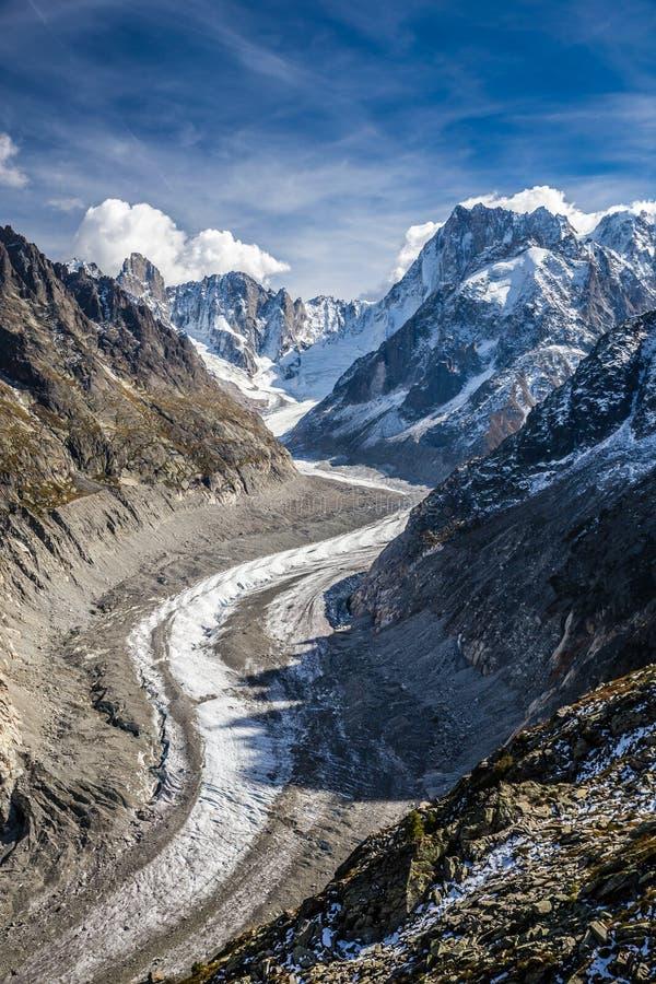 Mer De Glace Glaciär-Mont Blanc massiv, Frankrike arkivbilder