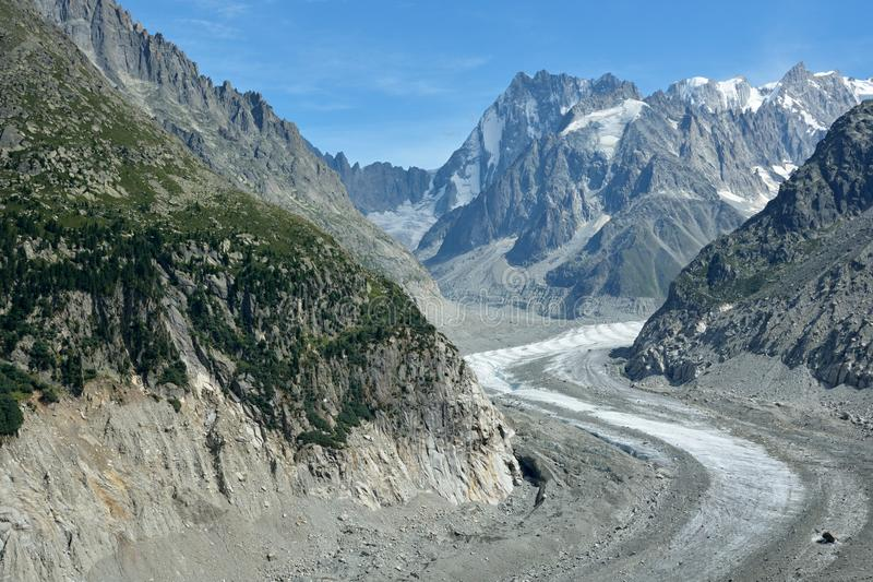 Mer de Glace in France stock photography