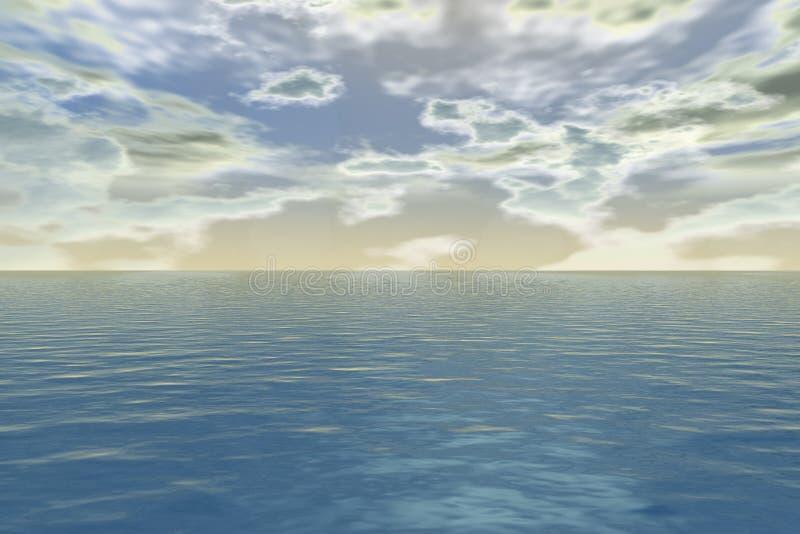 Mer de l'aurore - coucher du soleil au-dessus de l'horizon illustration libre de droits