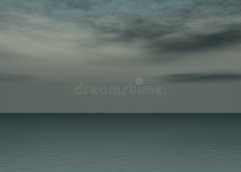 Mer de l'aurore - coucher du soleil au-dessus de l'horizon illustration de vecteur