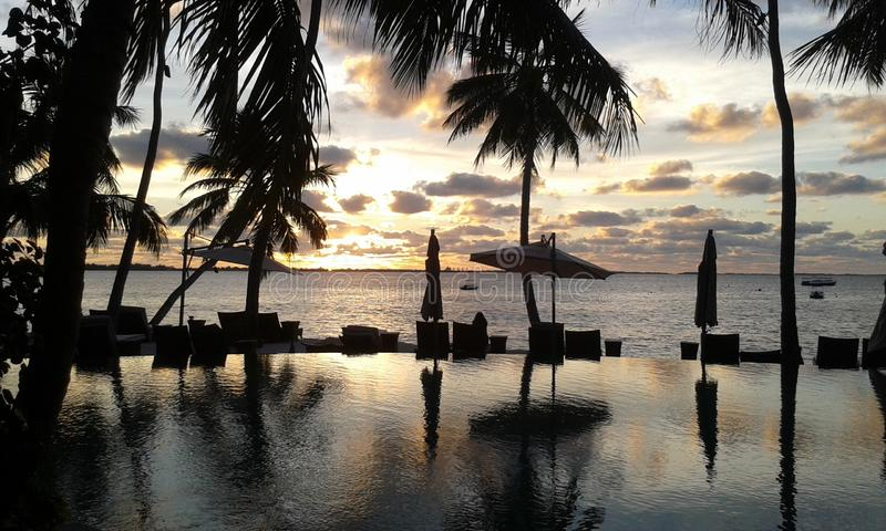 Mer de Naturel avec le jardin au Sri Lanka photos stock