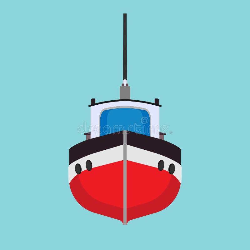 Mer de navire de transport d'icône de vecteur de bateau de traction subite Fret marin d'industrie de bateau Vue de face de mini b illustration de vecteur
