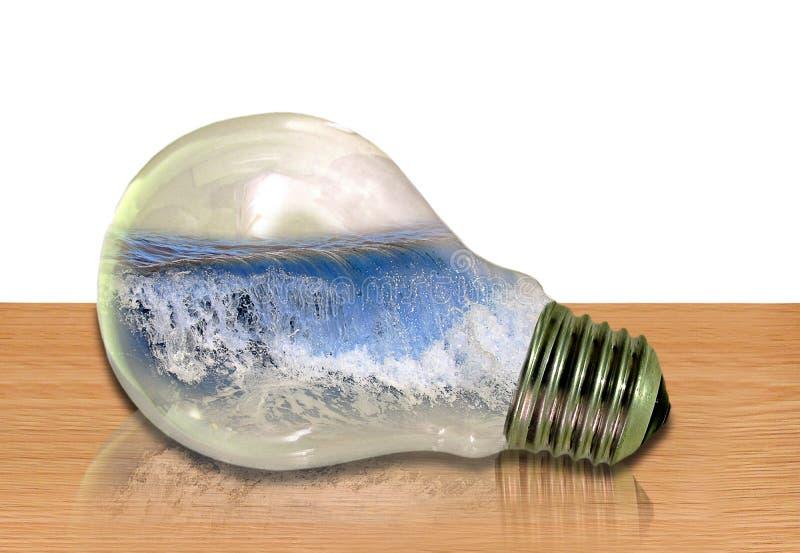 Mer de vagues de vacances de bord de la mer dans un concept d'idée d'ampoule image stock