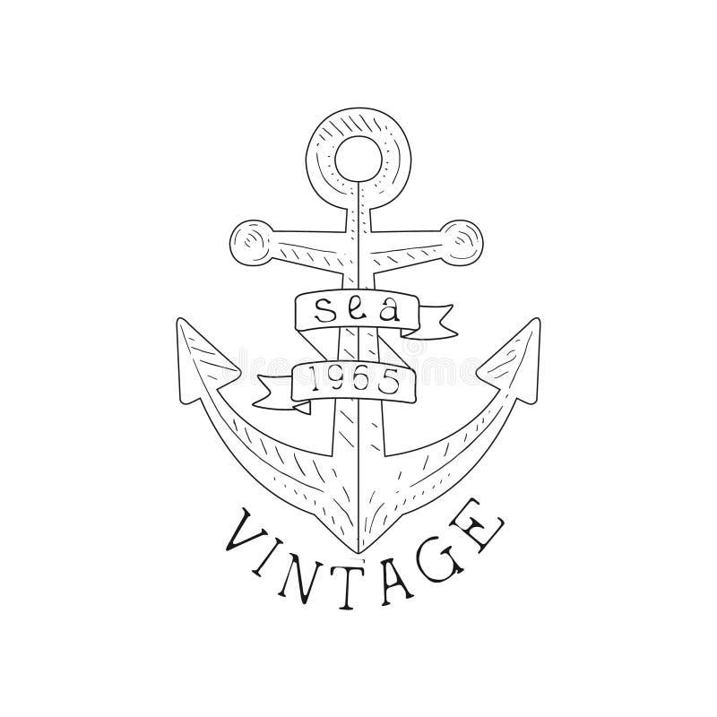 Mer de vintage d'ancre de bateau et calibre tiré par la main de label de croquis de symbole nautique illustration stock