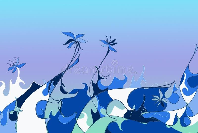 Mer des fleurs illustration libre de droits