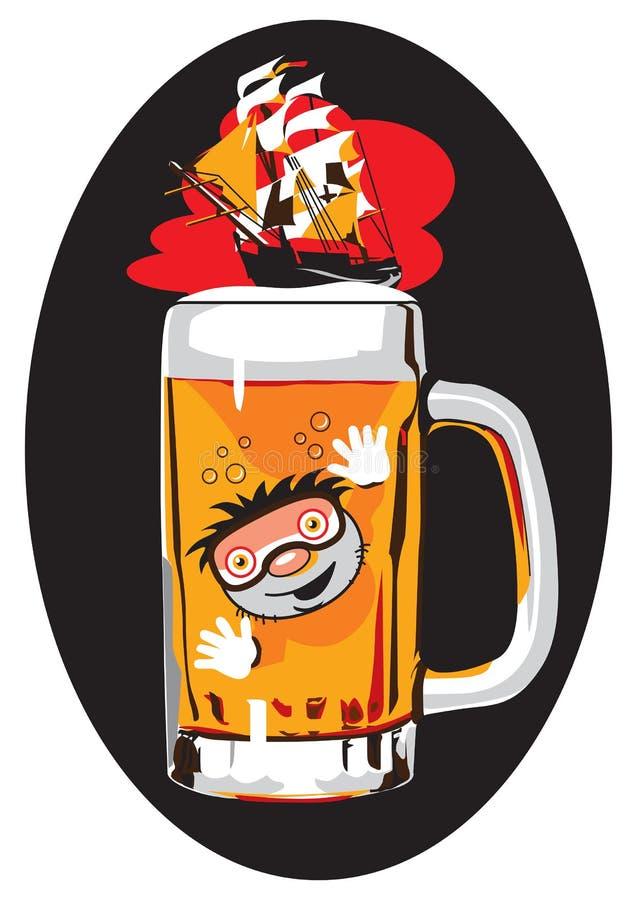 Mer drôle d'image de bière dans 6 couleurs illustration de vecteur