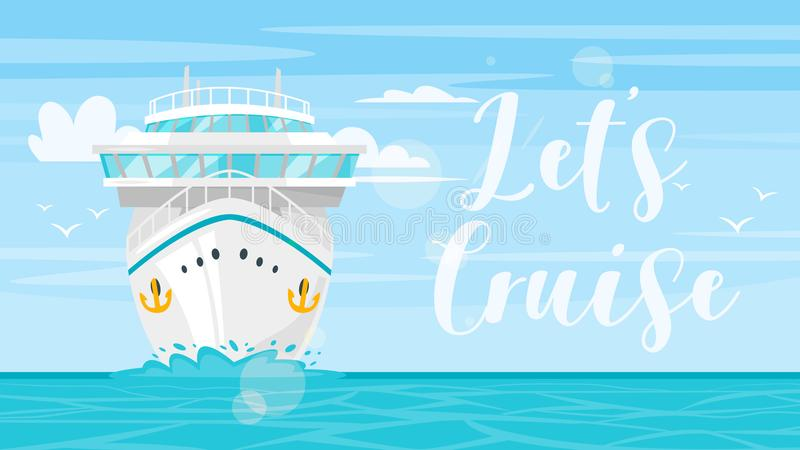 Mer et bateau de croisière illustration libre de droits