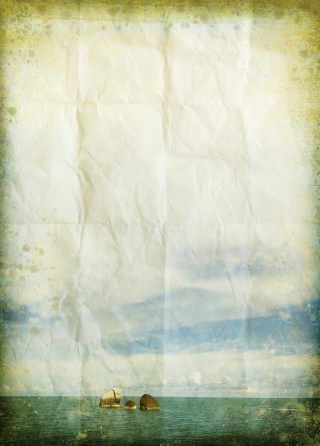 Mer et nuage sur le vieux papier grunge illustration de vecteur