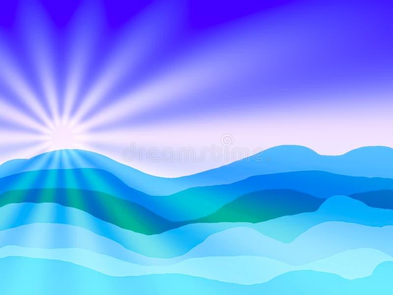 Mer et soleil abstrait et ciel bleu avec le dessin illustration libre de droits