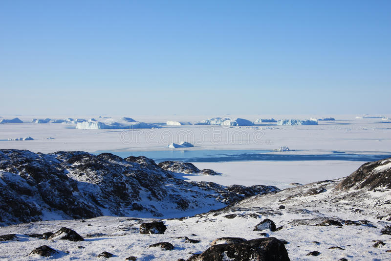 Mer figée et toundra arctique, Groenland photos libres de droits