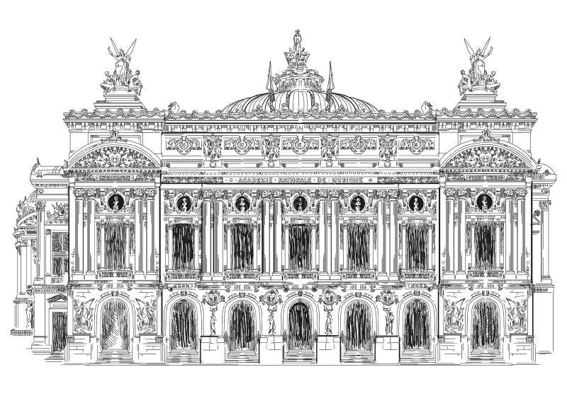 mer garnier opera paris royaltyfri illustrationer
