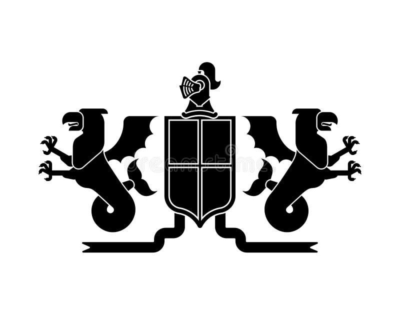 Mer héraldique Griffin de bouclier et dragon et chevalier Helmet Fantas illustration stock