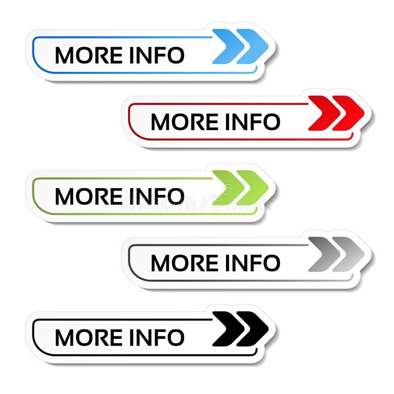 Mer information knäppas med pilar - etiketter på den vita bakgrunden stock illustrationer