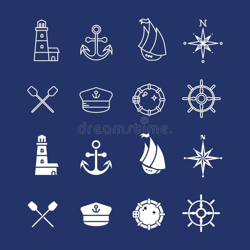 Mer marine nautique, pirate et ligne mince maritime icônes illustration de vecteur