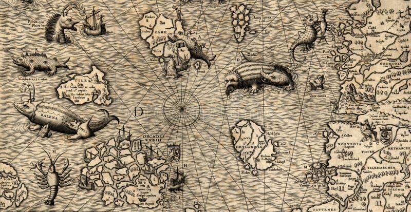 mer nordique de carte vieille illustration stock