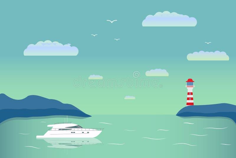 Mer plate le yacht dans une baie de l'île et une balise sur l'horizon illustration de vecteur