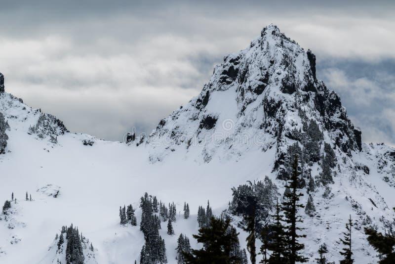 Mer regnig låg snönedgång för Mt på near vid maxima royaltyfri bild