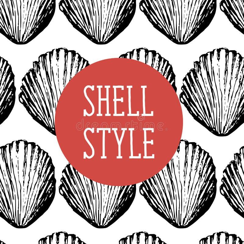 Mer Sun d'illustration de noir de Shell Style Vector Pattern Brush illustration libre de droits