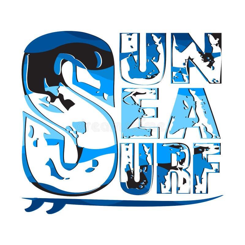 Mer surfante du soleil, T-shirts surfants, typograph d'inscription de T-shirt photos stock