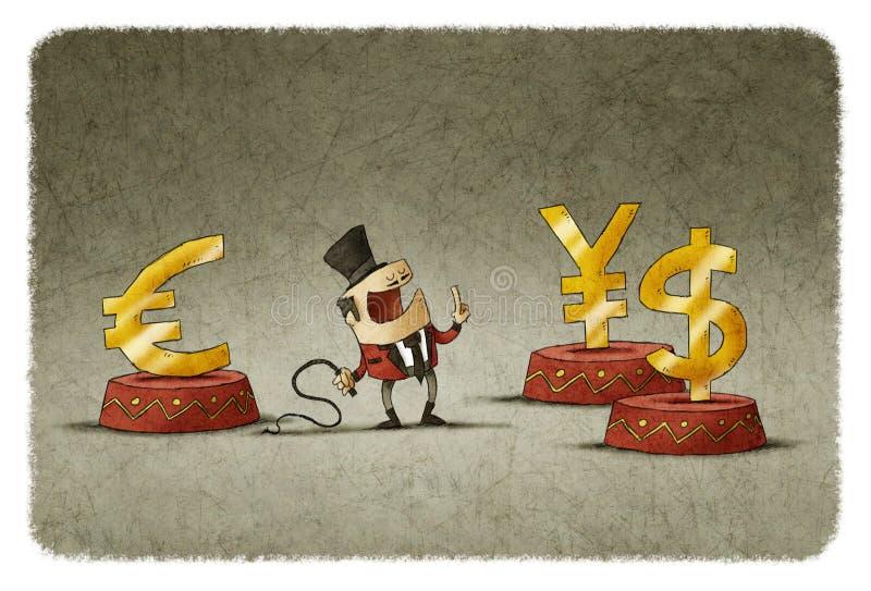 Mer tamer med piska och olik valuta på cirkuspodiet royaltyfri illustrationer