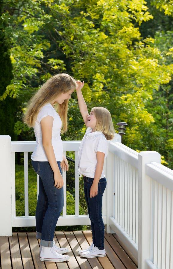 Mer ung syster som jämför höjd med äldre syster royaltyfri bild