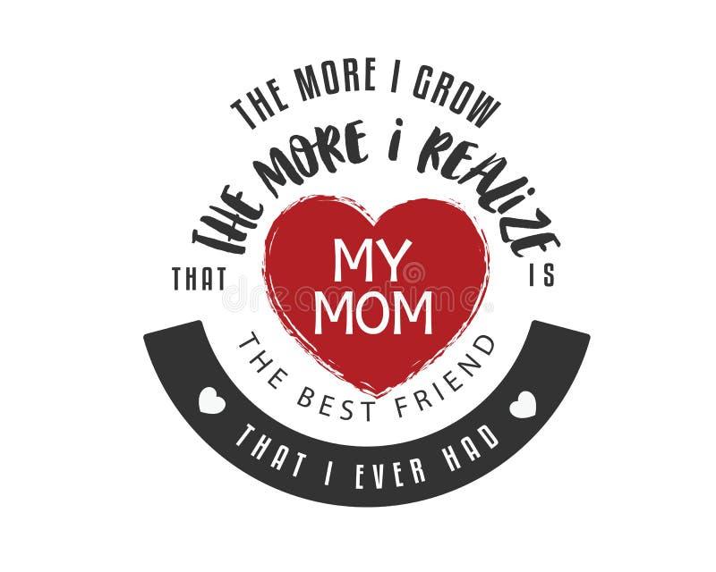 Mer växer jag, mer som, realiserar jag, att min mamma är bästa vän, att jag hade någonsin stock illustrationer