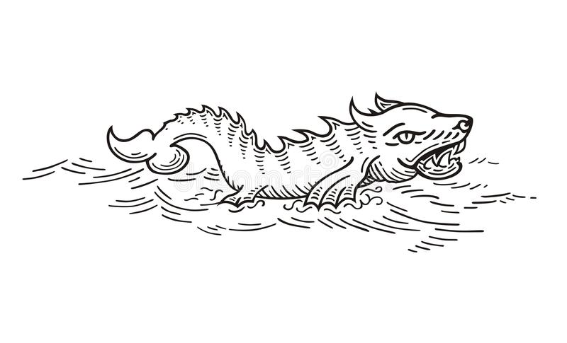 Mer Wolf Monster illustration de vecteur